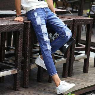 Instocks BLUE RIPPED JEANS