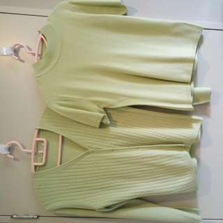 Machine Knit, Cardigan & Blouse (Apple Green)