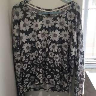 Loose Flower Mesh Shirt