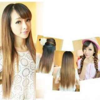 Synthetic Clip On Straight Hair
