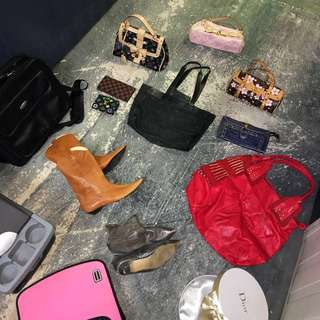 Bags, leather boots, wallets from $5! some never used!