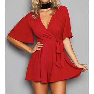 Tie Waist Wrapped Playsuit