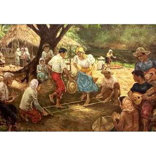 Harvest Celebration By F Jervoso Circa 1954 (Philippines Artist) Oil on canvas 108 x 82cm