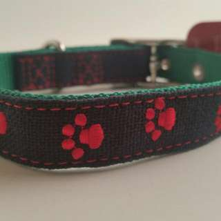 Paw print embroidered dog collar by Top Paw