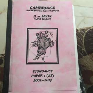 As Level Economics Past Year Marking Scheme