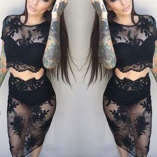 2 Piece Black Lace Set - Croptop And Skirt