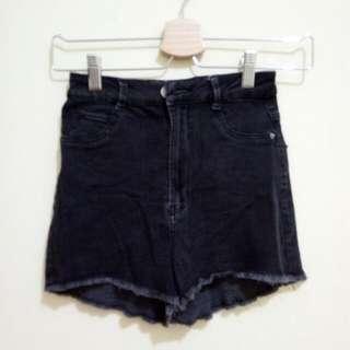 Bershka Short High Waist Black Jeans