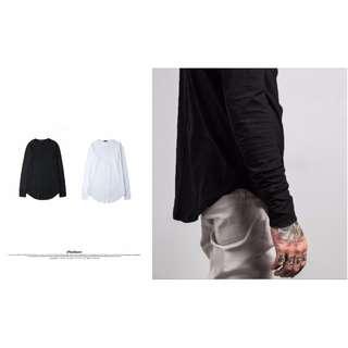 【F38】高磅圓弧加長下擺長袖TEE 內搭 兩件 秋冬 新款 高 磅數 羅紋 衛衣 男 潮流