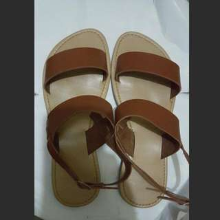 Brown Flat Open Sandals