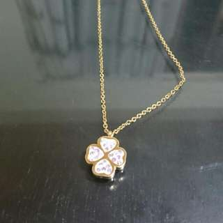 Stainless Clover Necklace With Stones