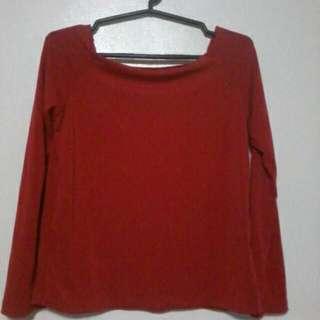 Long Sleeve Red Off Shoulder