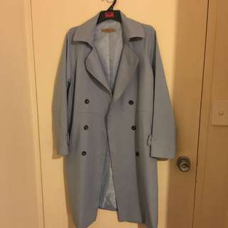 Trench Coat Baby Blue Made In Korea Size S