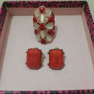 Red Ring And Earrings