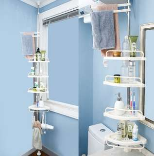 No Drill or Hack nails : 4 Tier Bathroom Floor to Ceiling Standing Rack.