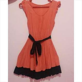 Mini Dress Onepiece Cinderella Pink +ikat Pinggang Pita Hitam