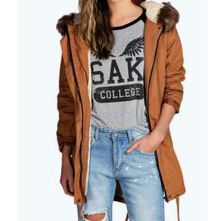Tan Luxe Parka Fully Lined