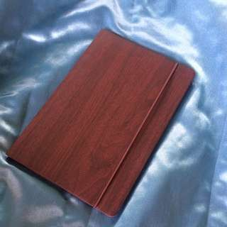 Faux Mahogany Wood Blank Paged Notebook