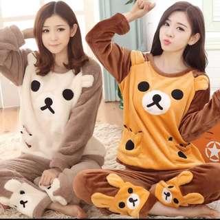 熱賣上百件[F-001]超可愛拉拉熊絨毛睡衣!珊瑚絨軟軟好舒服!法蘭絨家居套裝!(常賣款)