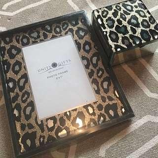 Leopard Glitter Photo Frame And Jewellery Box