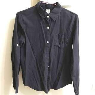 深藍修身襯衫