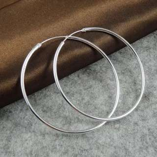 Simple 925 Silver Plated Hoop Earrings