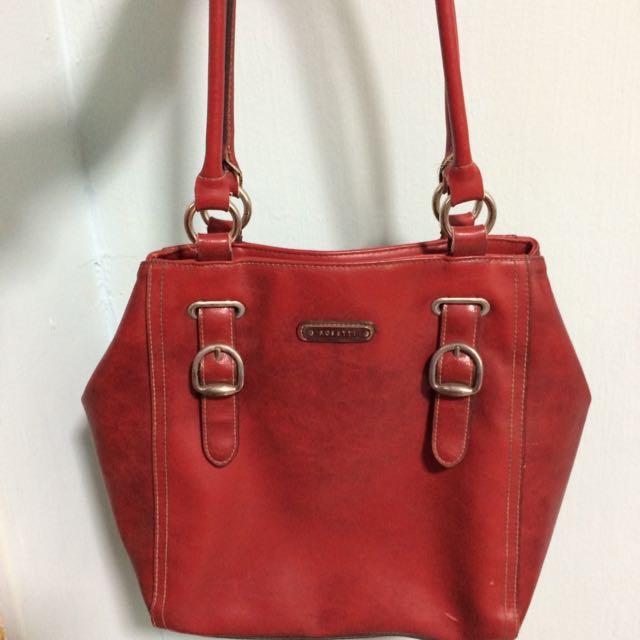 義大利品牌紅色皮製肩背包