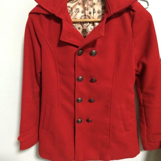 紅色修身長版外套