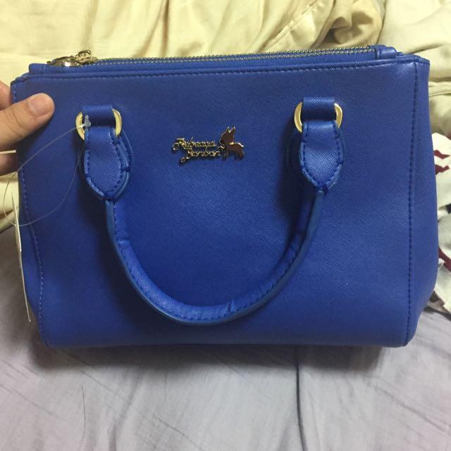 寶藍色側背手提包包