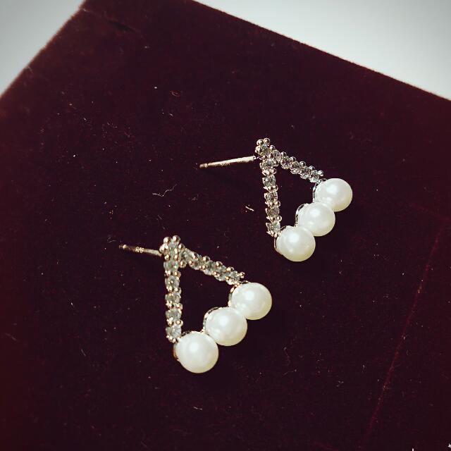 <韓> 幾何圖形 珍珠鑲鑽 耳環