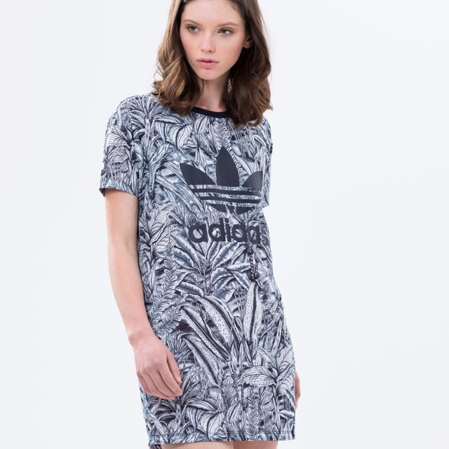 355bc2491fb RESERVED)Adidas Originals Florera Mono Abstract Trefoil Dress ...