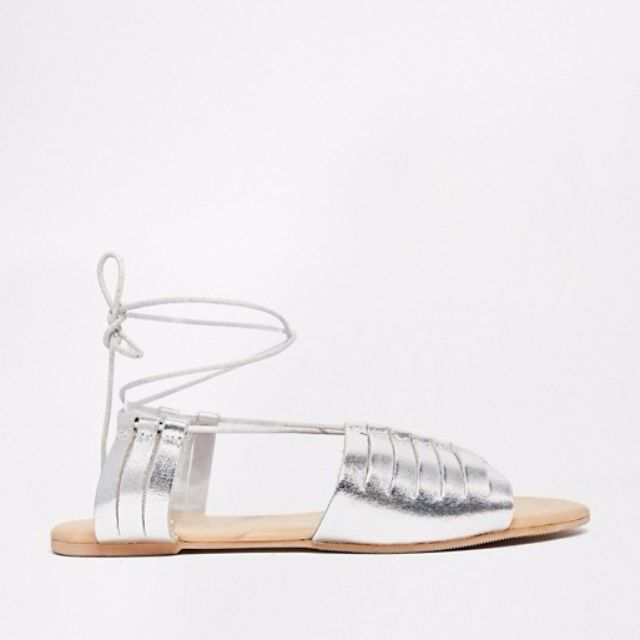53be8cee6b2c ASOS Flying Home Leather Lace Up Flat Sandals In Silver (Uk 7 ...