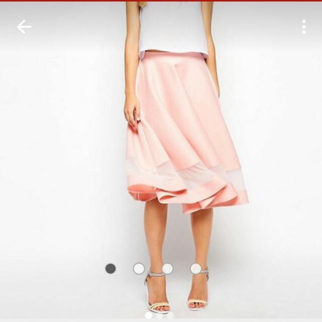 Blush Midi Asos Skirt With Mesh Cutout