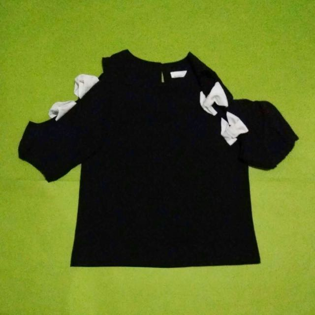 Black Blouse with White Ribbon Sleeves