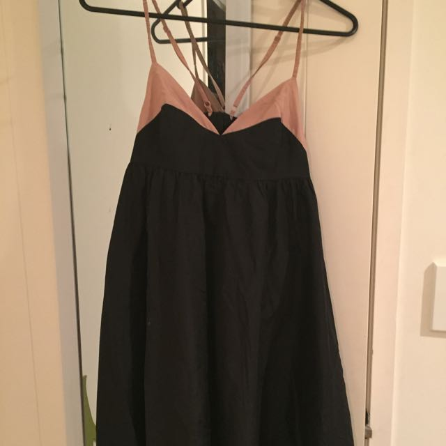 Black Dress With Creamy Brown Colour