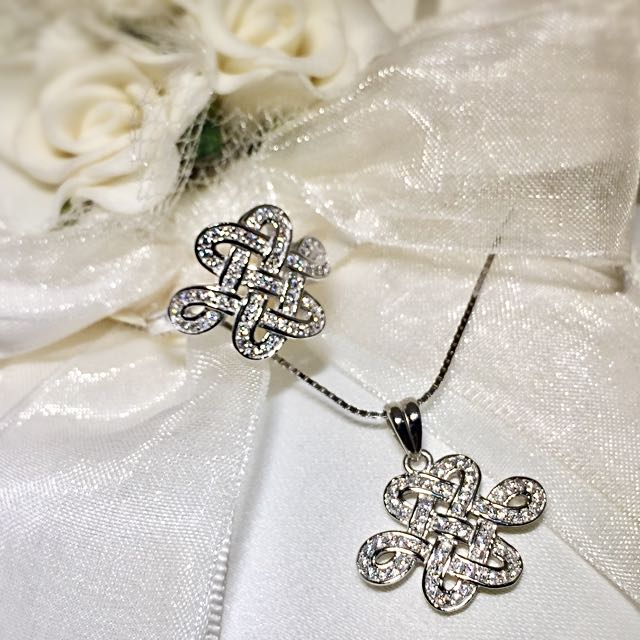 BN Mystical Knot Necklace & Ring In 925 Sterling Silver, 18K
