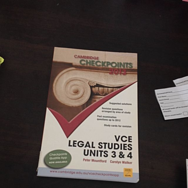 Cambridge checkpoints legal studies vce Units 3&4