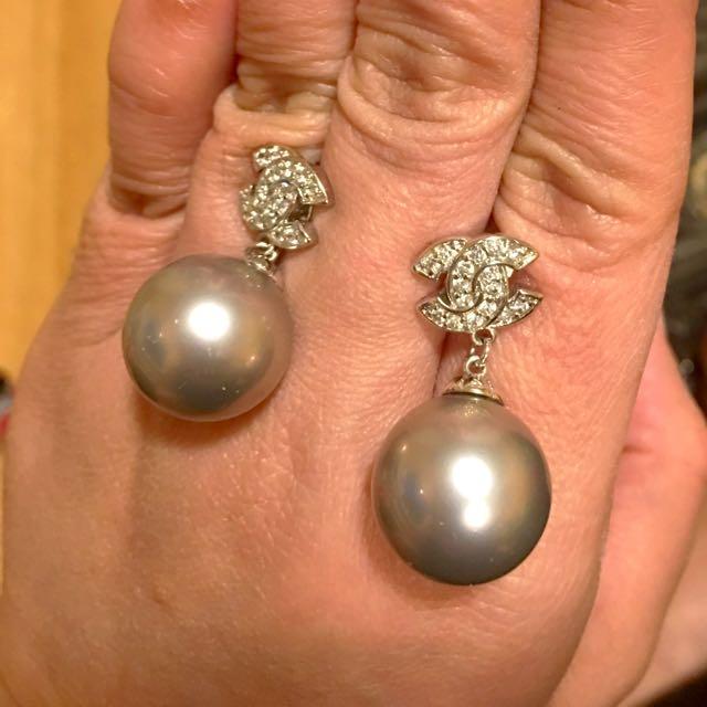 Chanel Silver Plated Earrings
