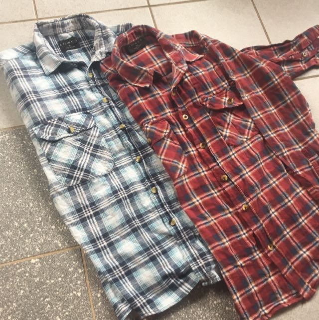 Checkered flannel tops