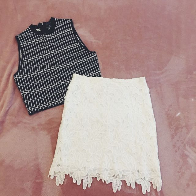 DAISY LACE WHITE SKIRT