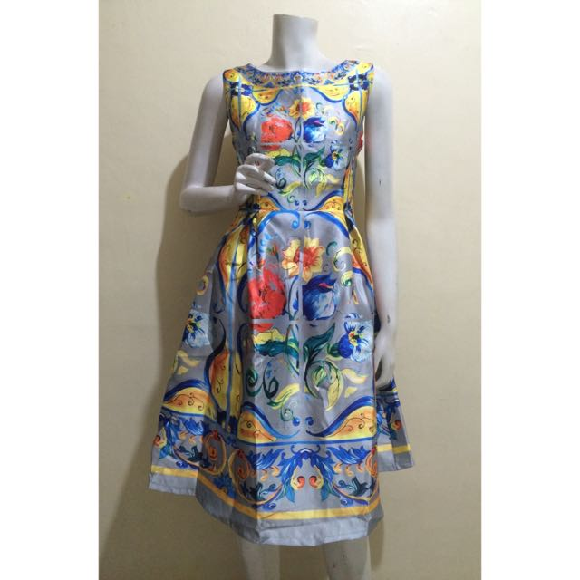 D&G Inspired Gray Boatneck Majolica Print Dress