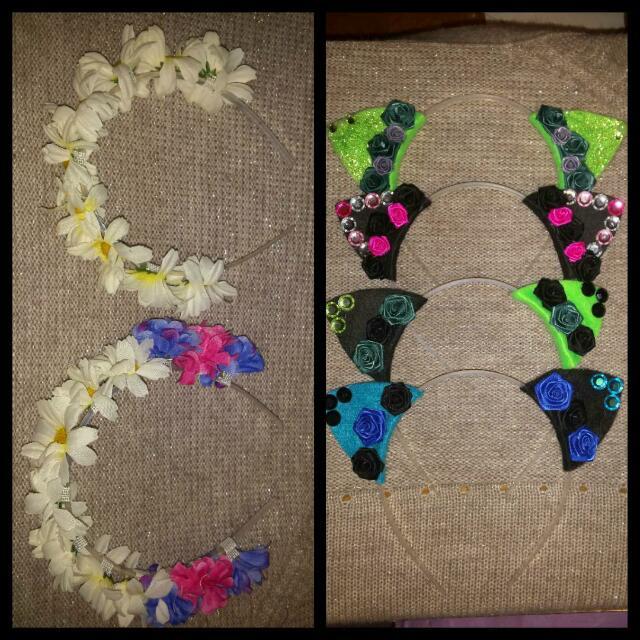 Floral Headbands,  Cat Ear Headbands 8bit Bow Hair Clips