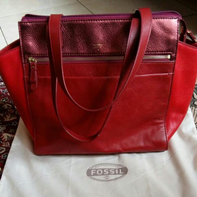 Fossil Tessa satchel red