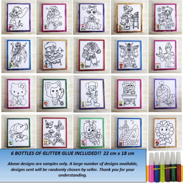 Glitter Glue Painting Art Comes With One Art Frame And Six Bottles Of Shiny Glitter Glue Babies Kids On Carousell