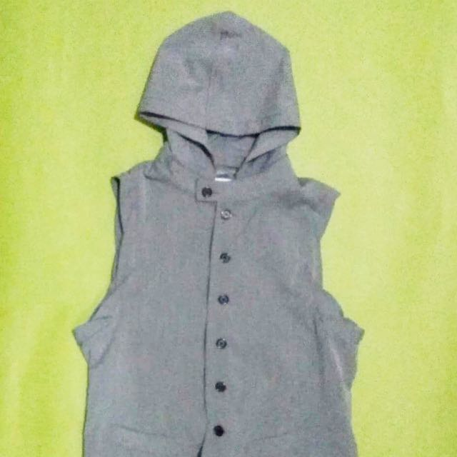 Gray sleeveless with removable hoodie