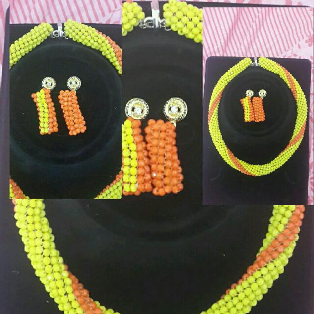 Handcrafted beaded necklace & Earrings
