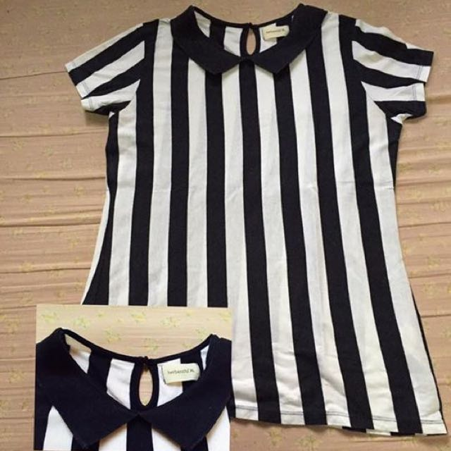 Herbench Stripe Collared Blouse