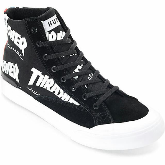 e021ccb28e HUF x Thrasher Classic Hi TDS Black   White Skate Shoe