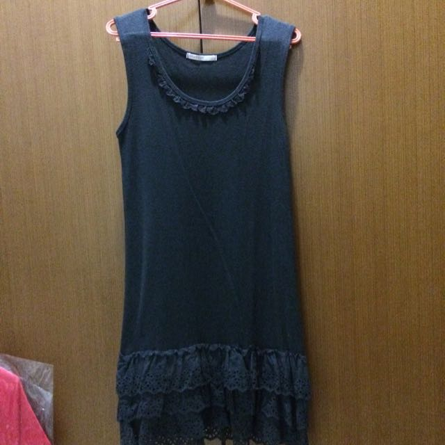Little Black Dress With Lacey Ruffle