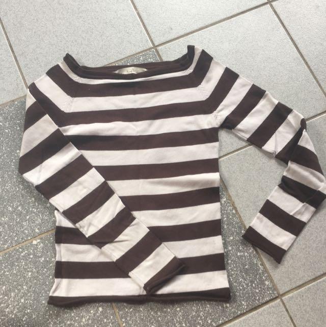 Long sleeved brown striped top