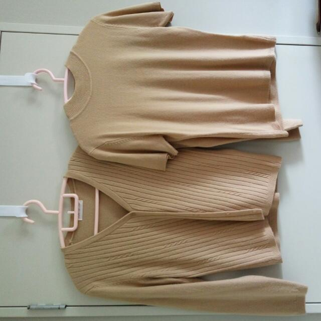 Machine Knit, Cardigan & Blouse (L Brown)